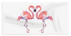 Flamingo Love Watercolor Beach Towel