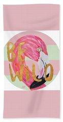 Flamingo On Stripes Round Beach Towel