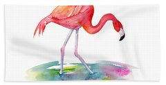 Flamingo Step Beach Towel