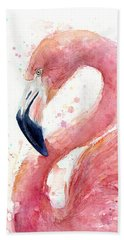 Flamingo Watercolor Painting Beach Towel