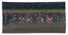 Beach Sheet featuring the photograph Flamingos  - 16x66 by J L Woody Wooden