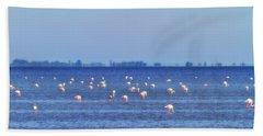 Flamingos In The Pond Beach Sheet