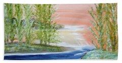 Flathead Lake Sunset Beach Towel