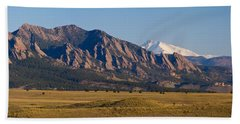 Flatirons And Snow Covered Longs Peak Panorama Beach Towel