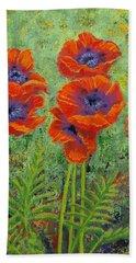 Fleurs Des Poppies Beach Sheet by Margaret Bobb