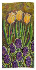 Fleurs D' Tulips And Hyacinths Beach Towel