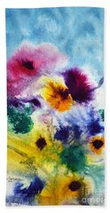 Beach Towel featuring the painting Fleurs by Joan Hartenstein