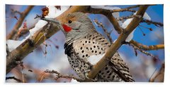 Flicker In Snow Beach Towel by Nadja Rider