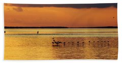Flight At Sunset Beach Towel