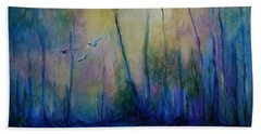 Beach Towel featuring the painting Flight In Morning Symphony by Alison Caltrider