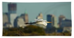 Flight Of The Great Egret Beach Towel