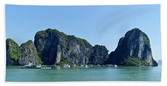 Floating Village Ha Long Bay Beach Towel by Scott Carruthers