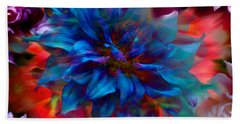 Floral Abstract Color Explosion Beach Towel by Stuart Turnbull