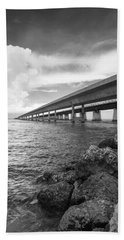 Florida Keys Seven Mile Bridge South Bw Vertical Beach Towel