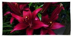 Flower - Burgundy Lily - Luther Fine Art Beach Towel