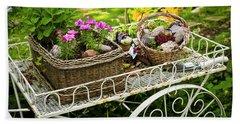Flower Cart In Garden Beach Towel by Elena Elisseeva