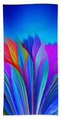 Flower Fantasy In Blue Beach Towel by Klara Acel