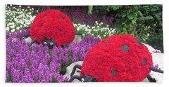 Flower Garden Ladybug Purple White I Beach Towel by Navin Joshi