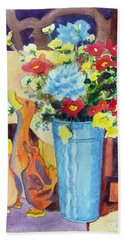 Beach Towel featuring the painting Flower In The Dell by Kathy Braud