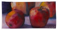 Beach Towel featuring the painting Flower Pot And Apples by Michelle Abrams