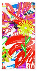 Beach Towel featuring the mixed media Flower Power by Beth Saffer