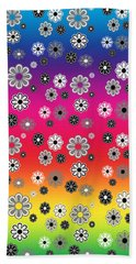 Flower Power Groovy Multicolor Beach Towel