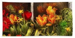 Flower - Tulip - Tulips In A Window Beach Towel