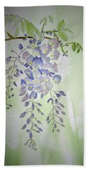 Flowering Wisteria Beach Sheet by Elvira Ingram