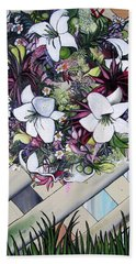 Beach Sheet featuring the painting Floral Wreath by Mary Ellen Frazee