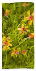 Beach Sheet featuring the painting Flowerfield by Go Van Kampen