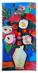 Flowers And Colors Beach Towel