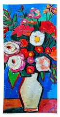 Flowers And Colors Beach Towel by Ana Maria Edulescu