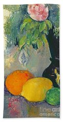 Flowers And Fruits Beach Towel by Paul Cezanne