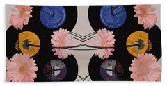 Flowers And Phonographs Beach Towel