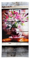 Flowers And Wood Beach Towel