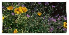 Flowers In A Botanical Garden, Buffalo Beach Towel
