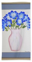 Flowers In A Vase Beach Towel by Ron Davidson