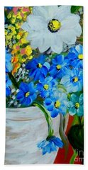 Flowers In A White Vase Beach Towel