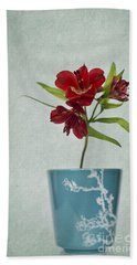 Flowers In Blue Vase Beach Towel