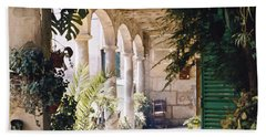 Beach Towel featuring the photograph Flowery Majorquin  Patio In Valdemosa by Heiko Koehrer-Wagner