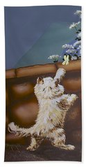 Fluff And Flutter Beach Towel by Linda Simon