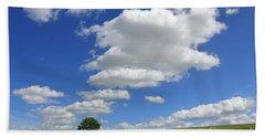 Fluffy Clouds Over Epsom Downs Surrey Beach Sheet