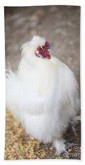 Beach Sheet featuring the photograph Fluffy White Hen by Erika Weber