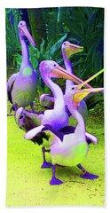 Fluorescent Pelicans Beach Towel