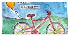 Flying Away- Bicycle And Balloon Painting Beach Towel