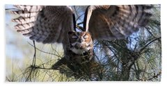 Flying Blind - Great Horned Owl Beach Towel