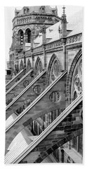 Flying Buttresses Bw Beach Towel