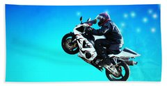 Beach Towel featuring the photograph Flying Low One More Time On Two Wheels by Joyce Dickens