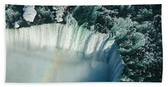 Flying Over Icy Niagara Falls Beach Sheet