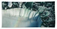 Flying Over Icy Niagara Falls Beach Towel